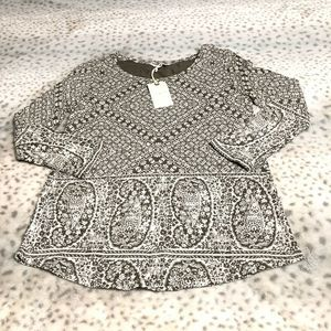 Lucky Brand Knit Top Size Small Floral Paisley